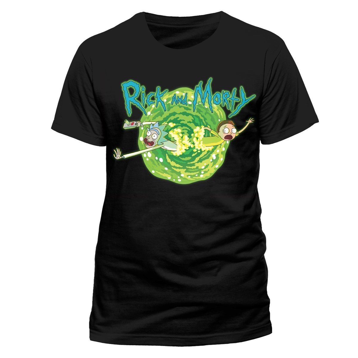 Rick and Morty Official Licensed Men's Portal Print Black T-Shirt | Sizes S-XXL