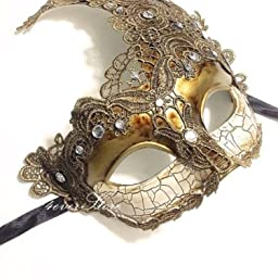 Amazon Com Venetian Goddess Masquerade Mask Made Of Resin Paper Mache Technique With High Fashion Macrame Lace Rhinestones Gold By Beyondglobalcorp Home Kitchen