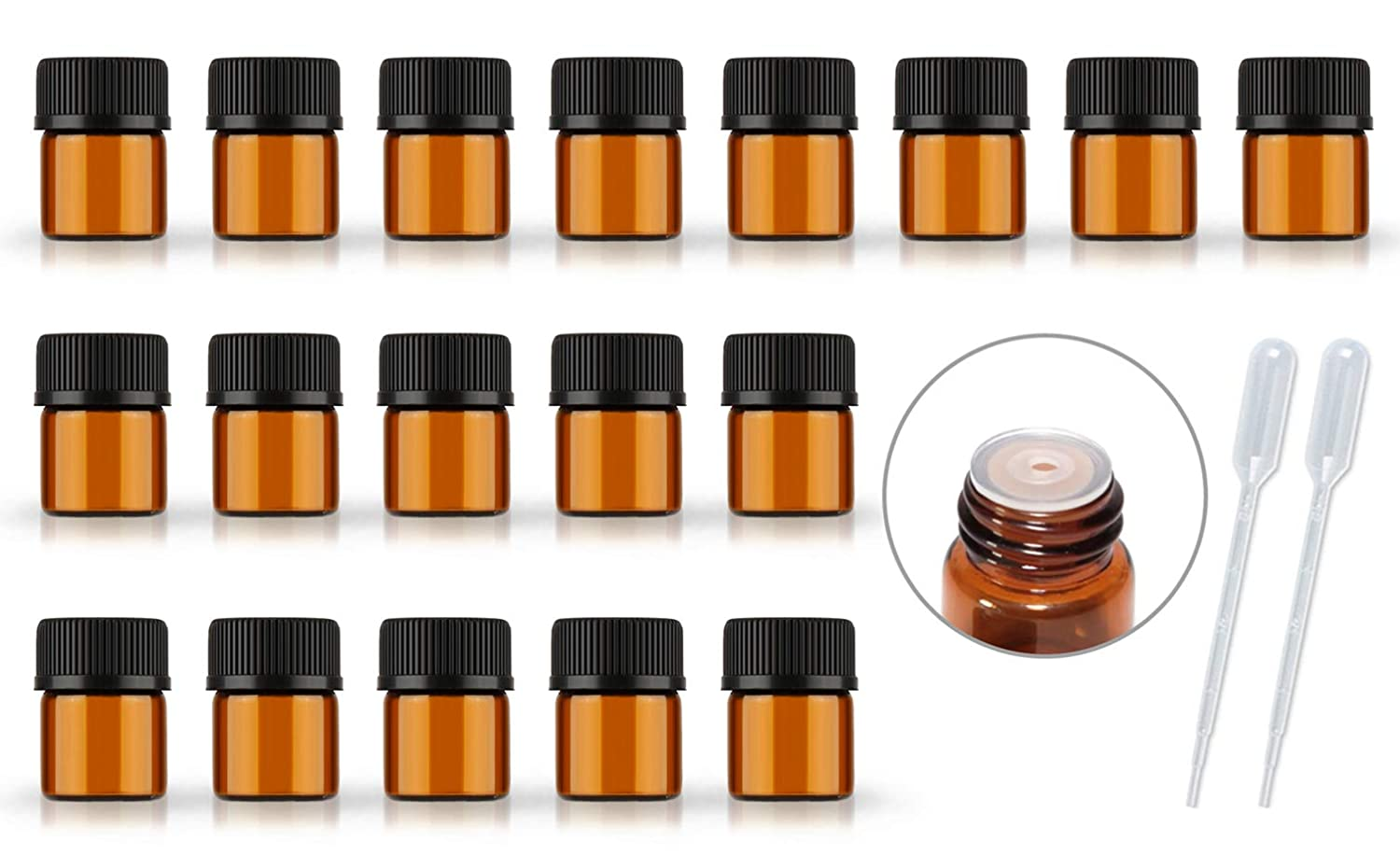 50Pack Set 1ML 2ML 5ML Amber Glass Bottle with Orifice Reducer and Cap Small Essential Oil Vials 1ML