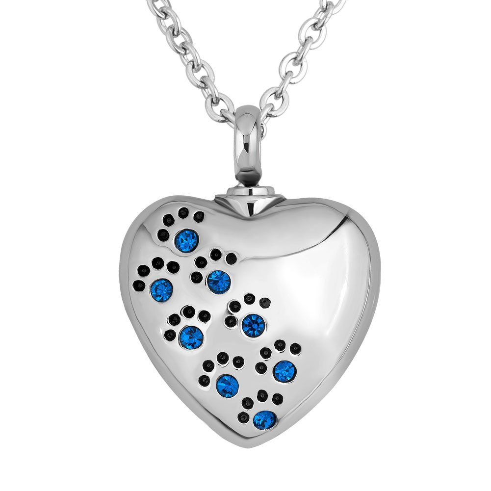 Q&Locket Heart Love Dog Paw Print With Stainless Steel Urn Necklaces For Ashes (Blue)