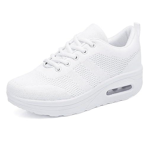Mujer Zapatillas de Deporte Cuña Zapatos para Correr Plataforma Sneakers con Cordones Calzado de Malla Air Tacón 5cm Negro Rosa Morado Blanco 34-39: ...