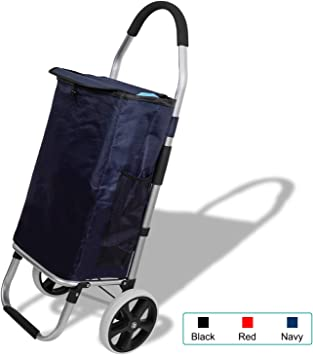 Travel Cart Wear-Resistant Silent Wheel,Blue Collapsible Pull Carts Oxford Cloth Shopping Bag Cart Portable Tote Trolleys Lightweight Aluminum Alloy Folding Shopping Cart