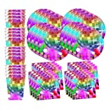 Disco Birthday Party Supplies Set Plates Napkins Cups Tableware Kit for 16