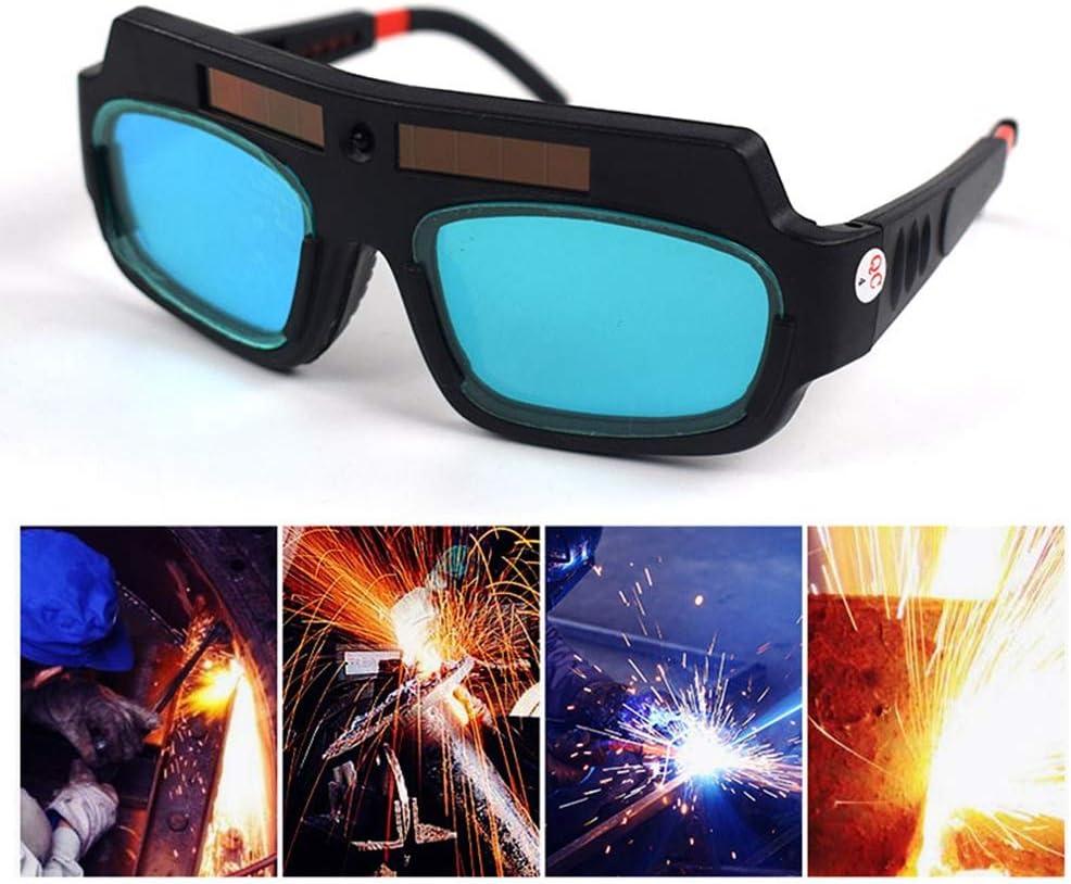 Tenlso - Gafas de soldar con oscurecimiento automático, protección solar, protección de energía solar, gafas de protección LCD para soldar con pantalla plana, antidestellos y con correa ajustable