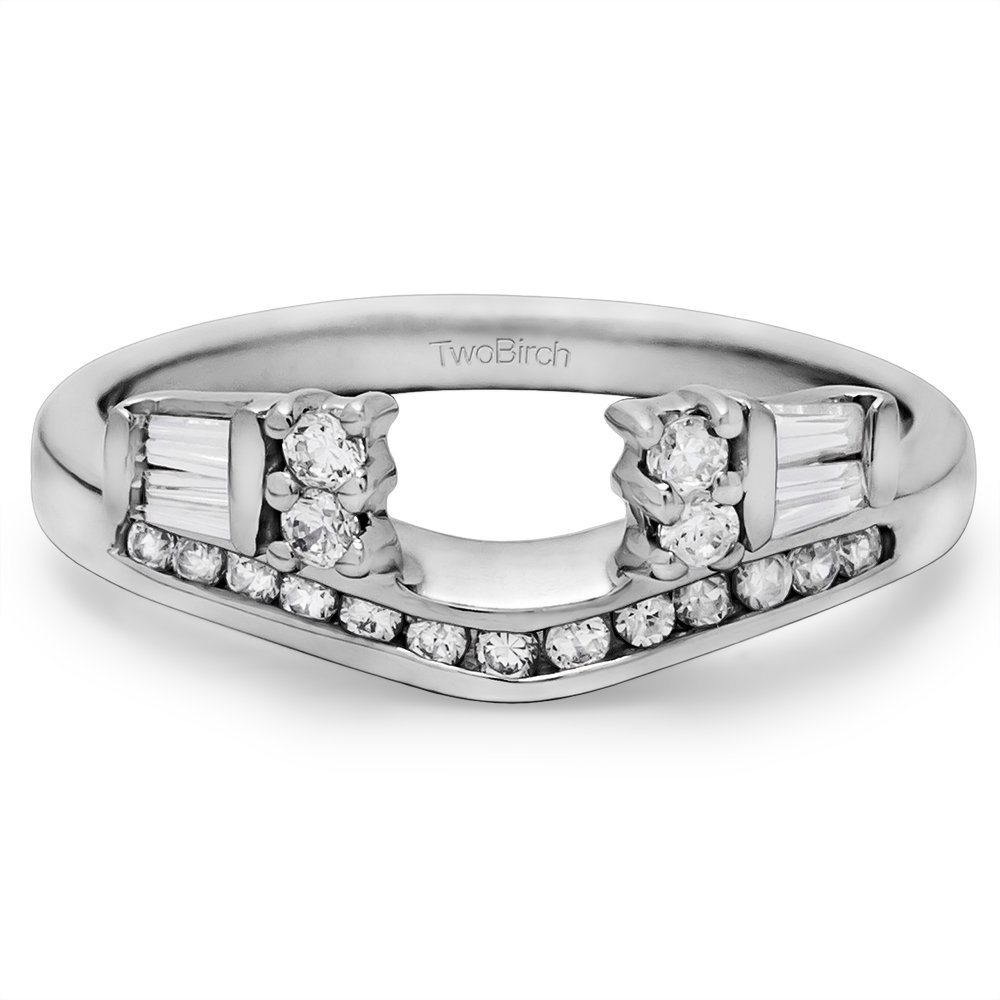 0.35 ct. Cubic Zirconia Classic Style Anniversary Solitaire Ring Wrap in Sterling Silver (1/3 ct. twt.) (Size 3 to 15 in 1/4 Size Intervals)