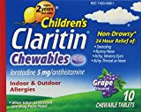 CLARITIN Children's Allergy Chewable Tablets Grape Flavored 10 Tablets (Pack of 3)