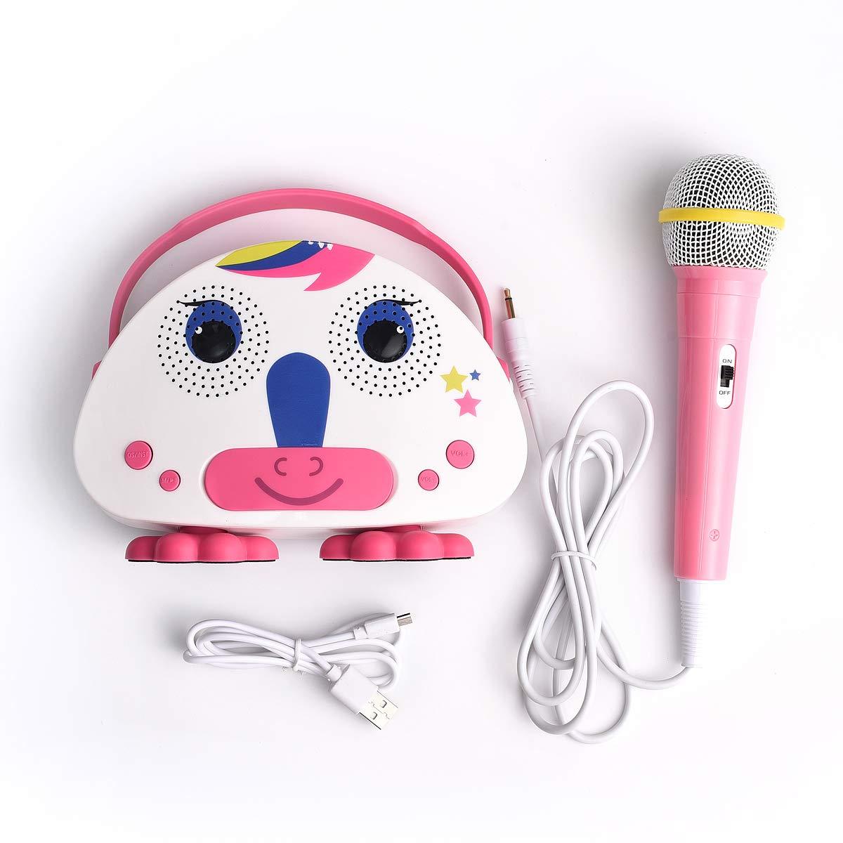 HowQ Outdoor Toys Karaoke Machine , Portable Kids Karaoke Bluetooth Speaker Wireless Cartoon Speaker for Kids for Indoor Toys Travel Activities with Microphone Karaoke Machine(Pink-White) by HowQ (Image #3)