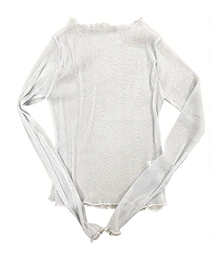 2871e3d0e36 Haola Women's Sexy Summer See Through Sheer Mesh Long Sleeve Cute Tops Slim  T-shirt