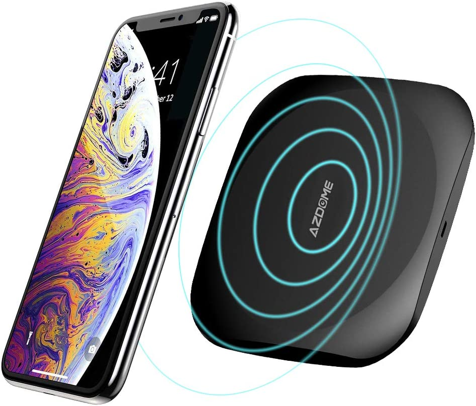 Wireless Charger for Phone,AZDOME Qi-Certified 10W Max Fast Wireless Charging Pad Compatible with Galaxy S9/S9 /S8/S8 /Note 8,7.5W iPhone XR/XS Max/XS/X/8/8 Plus,and Other Qi-Enabled Devices