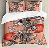 Koi Fish Queen Size Duvet Cover Set by Lunarable, Sacred Carp in Traditional Japanese Ink Style with Lilles Classic Artwork, Decorative 3 Piece Bedding Set with 2 Pillow Shams, Coral Black White