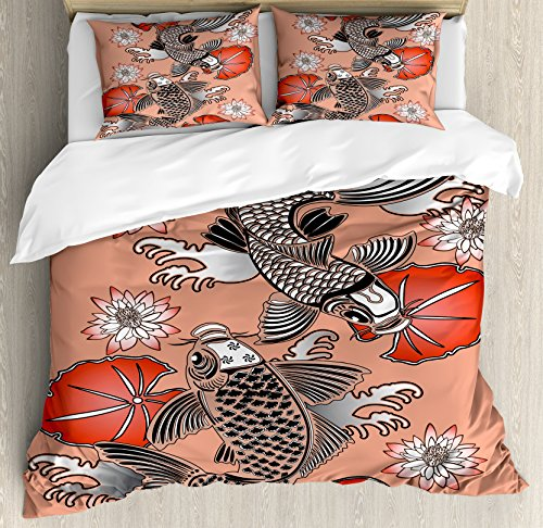 (Lunarable Koi Fish Duvet Cover Set Queen Size, Sacred Carp in Traditional Japanese Ink Style with Lilles Classic Artwork, Decorative 3 Piece Bedding Set with 2 Pillow Shams, Coral Black White)