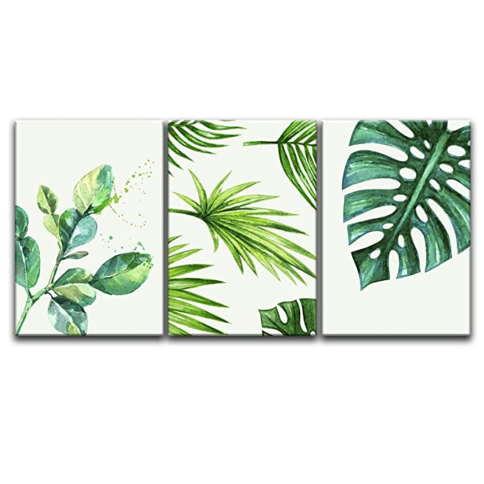 "Wall26   Green Tropical Leaves   Canvas Art Wall Decor   24""X36""X3 Panels by Wall26"