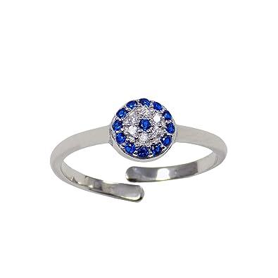 Amazon.com  Martinuzzi Accessories Evil Eye Ring Adjustable Sterling ... 878d979f7f76