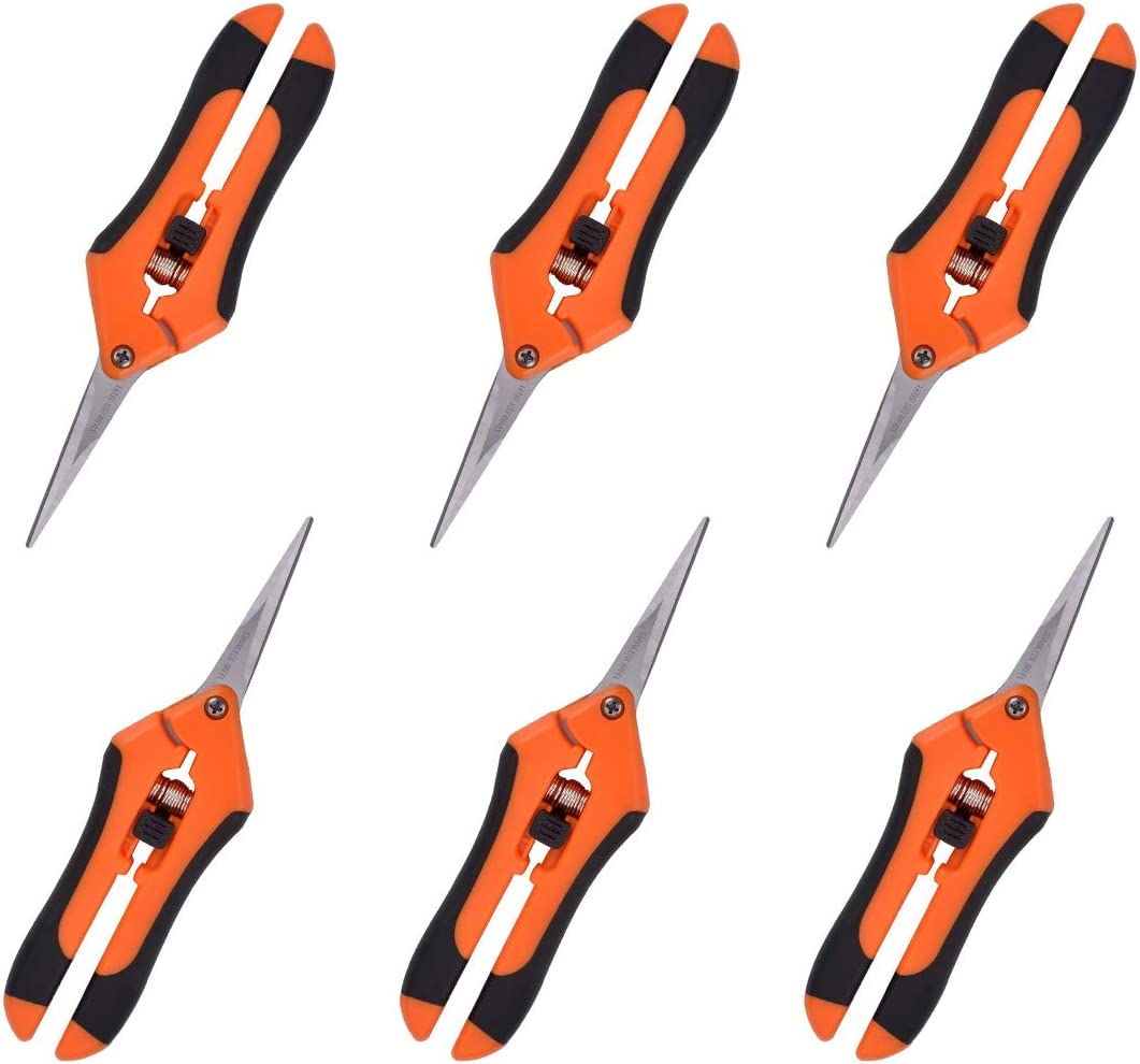 GROWNEER 6-Pack Pruning Shears Gardening Hand Pruning Snips with Straight Stainless Steel Precision Blades