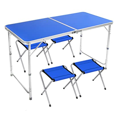 8aac0fe0a230 Amazon.com: TY BEI Outdoor Metal Folding Table and Chairs with ...