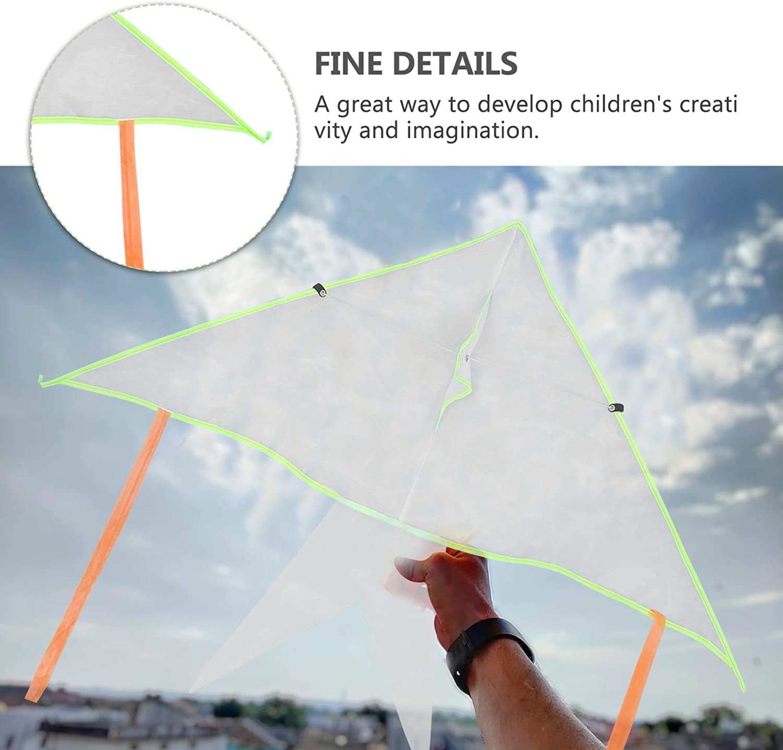 Random Style Yardwe 4 Sets DIY Blank Painting Kite Kids Kite Making Kit Decorating Coloring Kite Pack White Long Tail Flying Kite with Line Outdoor Toys for Beginners