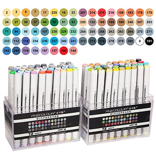 Finecolour 72 Art Markers Dual Tips Fine and Chisel Tip Markers Basic Sketch Marker Set for Drawing Manga Cartoon Illustration Highlighting