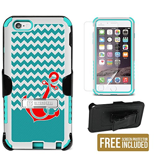 Spots8® Design Case Series for iPhone 6, 3in1 Durable Triple Layer Tough High Impact Hybrid Hard Shell + TPU Rugged Case with built-in kickstand, Holster Belt Clip & FREE Screen Protector [Red Anchor on Chevron]