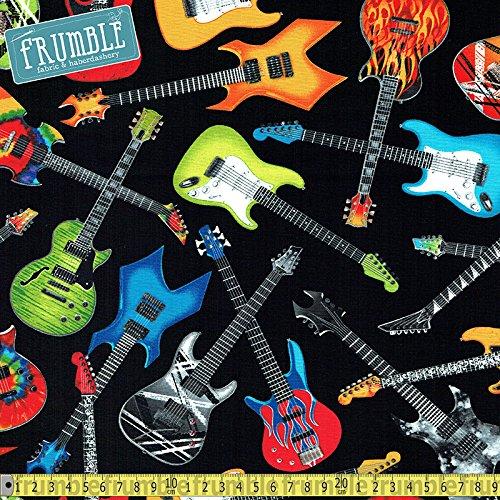 Timeless Treasures Tossed guitarra eléctrica Negro Costura Tela ...