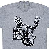 vintage 80s rock tshirts - L - Robot Guitar T Shirt Bass Amp Shirts Robot Playing Electric Rock Band 80s Tee Vintage Guitarist Logo Mens Womens Kids Graphic Tshirts