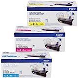 Brother TN-431C TN-431M TN-431Y DCP-L8410 HL-L8260 L8360 MFC-L8610 L8690 L8900 Toner Cartridge Set (Cyan Magenta Yellow, 3-Pack) in Retail Packaging