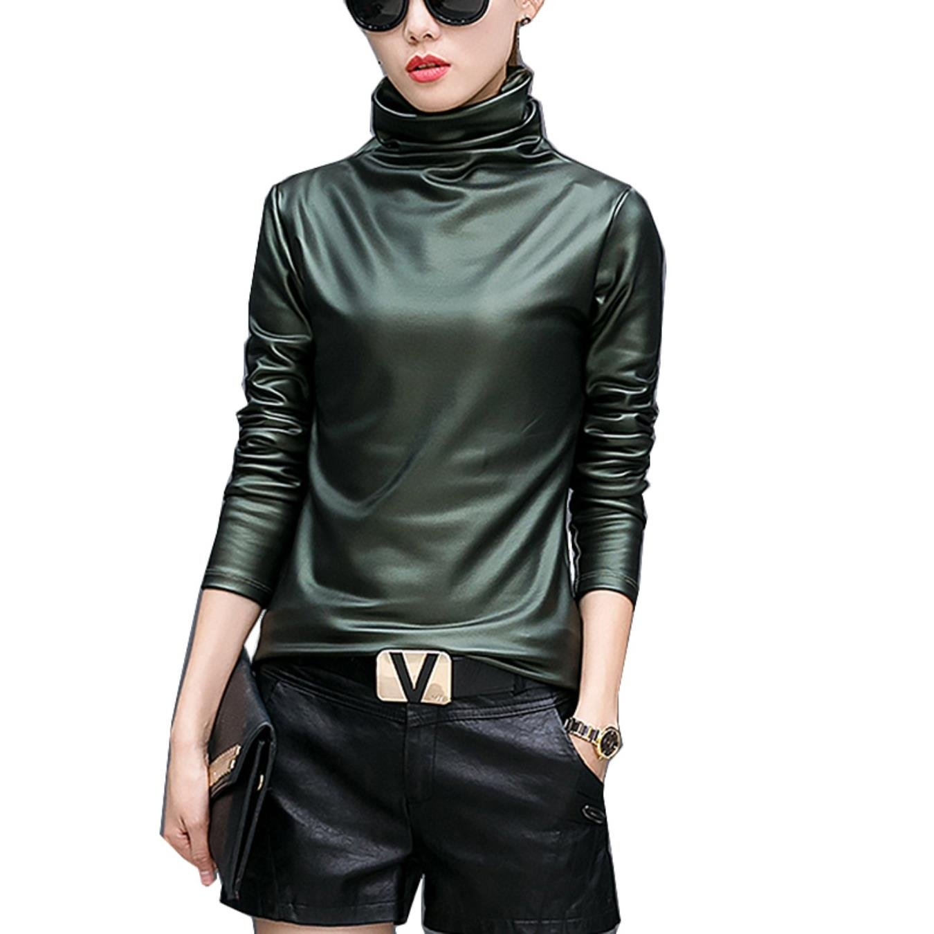Plus size women blouse fashion elegent Turtleneck long sleeve shirt female tops autumn winter pu Leather blusas femininas