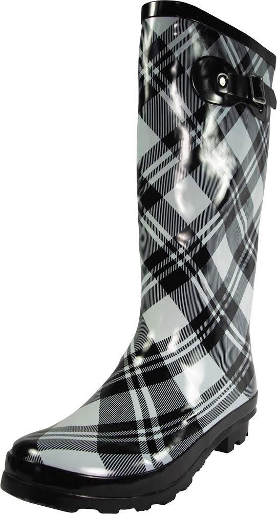 NORTY - Womens Hurricane Wellie Gloss Hi-Calf Plaid Print Rain Boot, Black, Light Grey 39210-8B(M) US