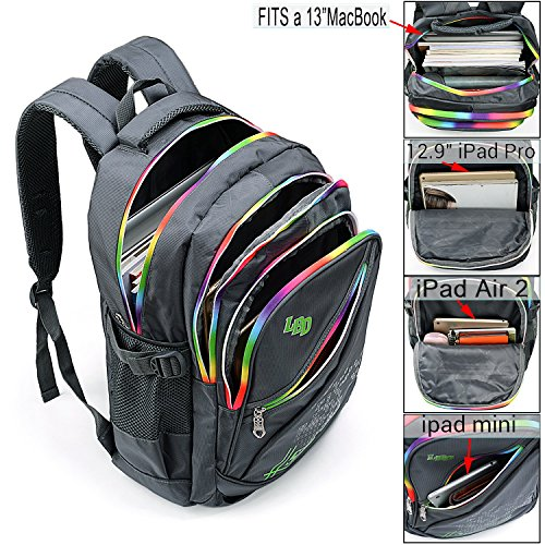 UTO Backpack Nylon Child Teenager Rucksack Primary Junior School Bookbag 520 Grey by UTO (Image #1)