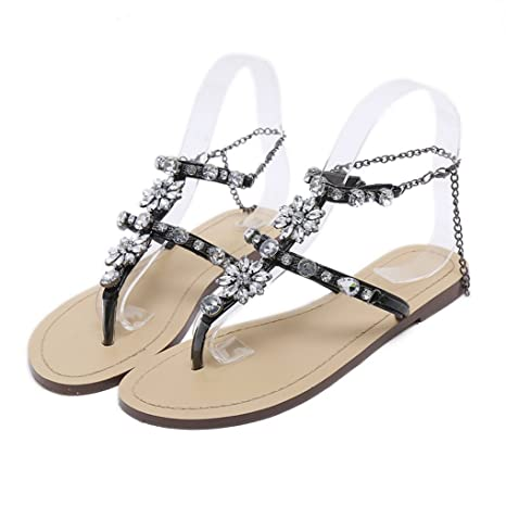9b4513293e9023 Amazon.com  Genepeg Womans Sandals Rhinestones Chains Thong Gladiator  Crystal Flat Heels Sandals  Sports   Outdoors