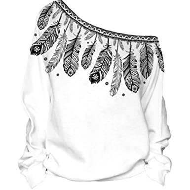 deac622f99d1bb Giles Jones Womens Off Shoulder Feather Printed Long Sleeve Casual ...