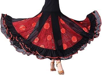 NFACE Elegante Baile de salón Fiesta de Baile Latino Falda Larga ...
