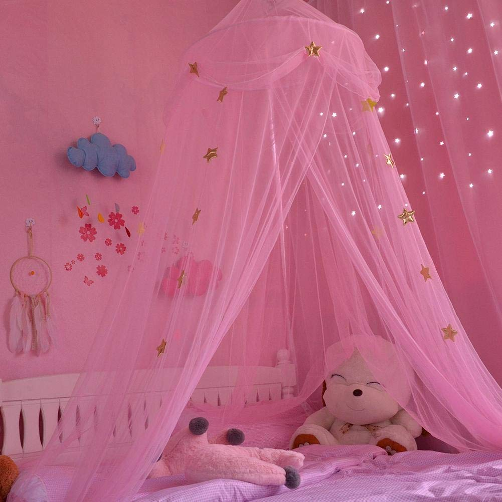 Zelt Haus f/ür M/ädchen Moskitonetz Neue Kinderzimmer Kuppel Zelt Baldachin Bett Volant Zelt mit blauen rosa wei/ßen Sternen Traumzelt Zimmerdekoration Spielzelt