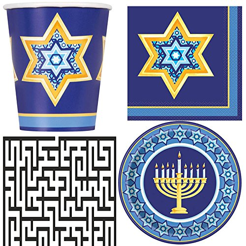 Happy Hanukkah Dinner Plates, 9 oz. Cups, and Lunch Napkins Party Bundle - Includes 1 Maze Game Activity Card by ClassicVariety