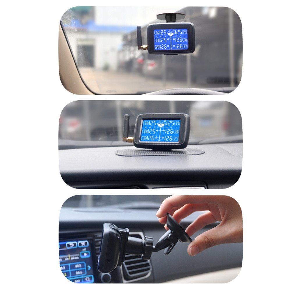 Careud TPMS Tire Pressure Monitoring System Real Time Monitoring Pressure and Temperature with Rechargeable LCD Monitor for Motorcycle Bus RV Trailer Truck 6 External Sensors by Careud (Image #9)