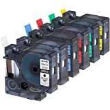 Anycolor 6 Pack 1/2 Inch Compatible DYMO D1 Label Tapes Combo Set Replacement DYMO 45010 45013 45016 45017 45018 45019 for DYMO LabelManager 160 280 420P PnP 220P 360D 450 210D