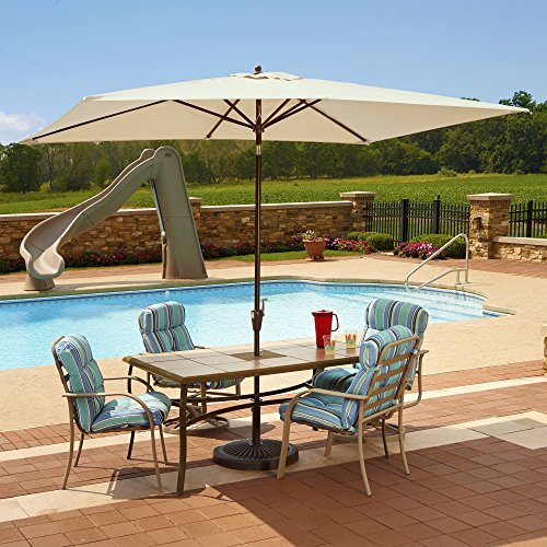 Adriatic 6.5-ft x 10-ft Rectangular Market Umbrella in Champagne Olefin by Island Umbrella