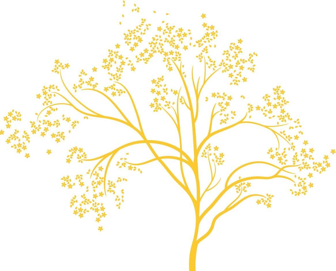 Amazon Com Littlelion Studio Blossom Tree Monochromatic Wall Decal Yellow Home Kitchen