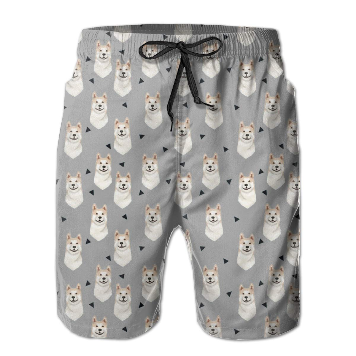 YongColer Mens Akita Dog Triangles Pattern Funny Swim Trunks Quick Dry Beachwear Sports Running Swim Board Shorts