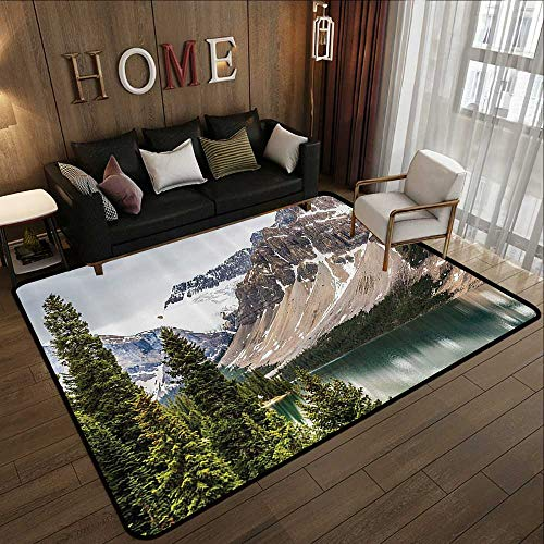 All Weather mats,Americana Landscape Decor,Alberta Rocks with Ranges Composed of Shale Limestone Hill Places,Grey Blue 71