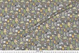 Spoonflower Camping Fabric Outdoors Camping Woodland Doodle With Campfire, Raccoon, Mountains, Trees, Logs On Dark Grey by Caja Design Printed on Basic Cotton Ultra Fabric by the Yard