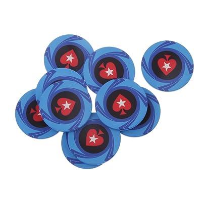 10pcs Accesorios Juego de Mesa Chips Fichas de Póker Mahjong Texas Forma Corazón Cerámica Bricolaje - Azul: Juguetes y juegos