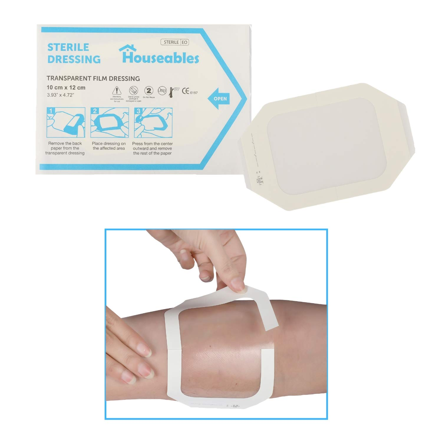 Houseables Transparent Dressing, Waterproof Wound Seal, 3.93''x 4.72'', 50 Pack, Clear, Film, Shower Shield Dressings, Large Bandages, Surgical, for Tattoo Protection, Wounds, Dialysis Catheter Shields