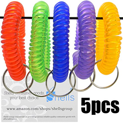 [Shells 5PCS Colorful Soft Highly Spring Spiral Coil Wrist Band Key Ring Chain] (Wrist Coil Key Ring)