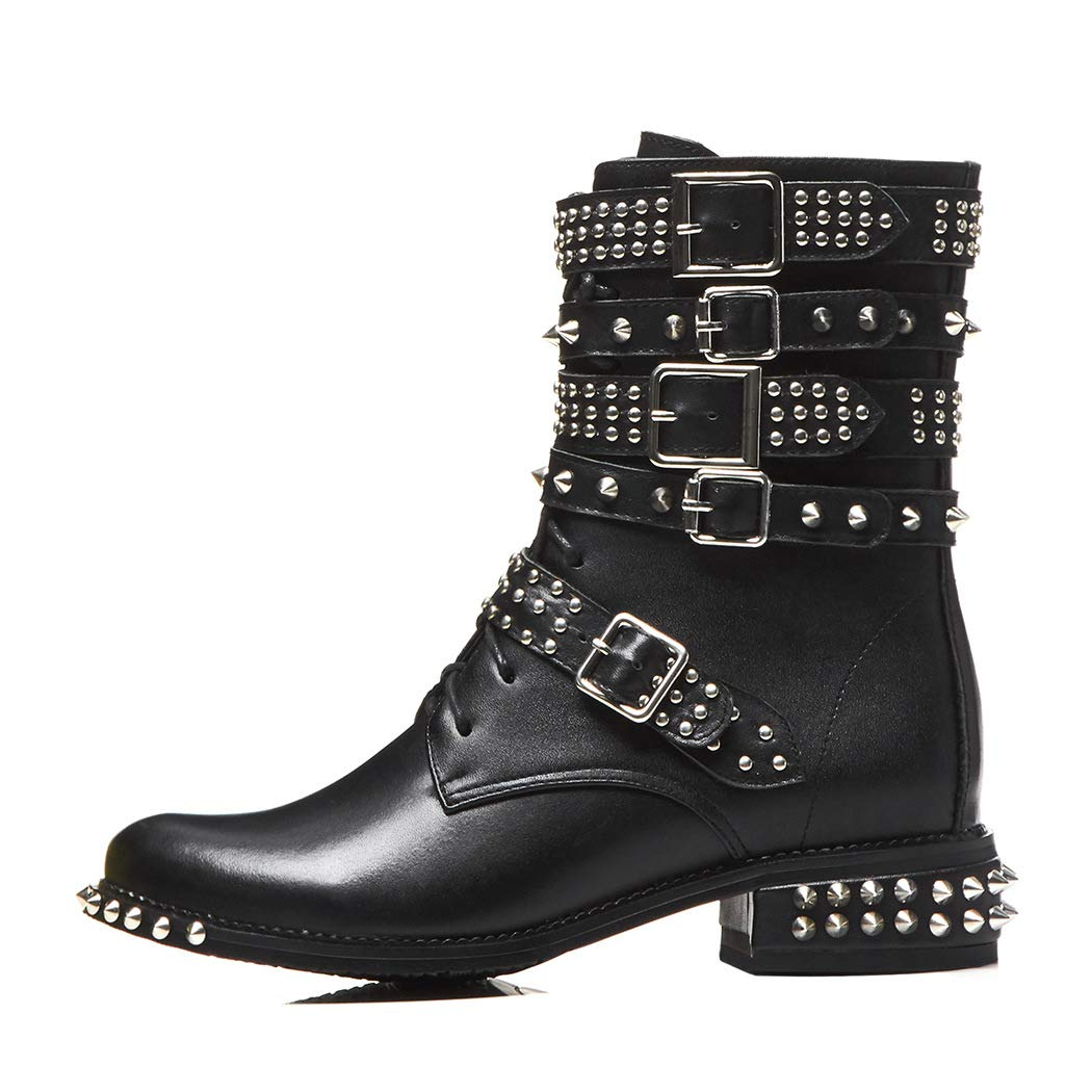 2071ebf86a883 Amazon.com | 2019 Cool Rivets Ankle Bootie Women Buckle Strap Chunky ...
