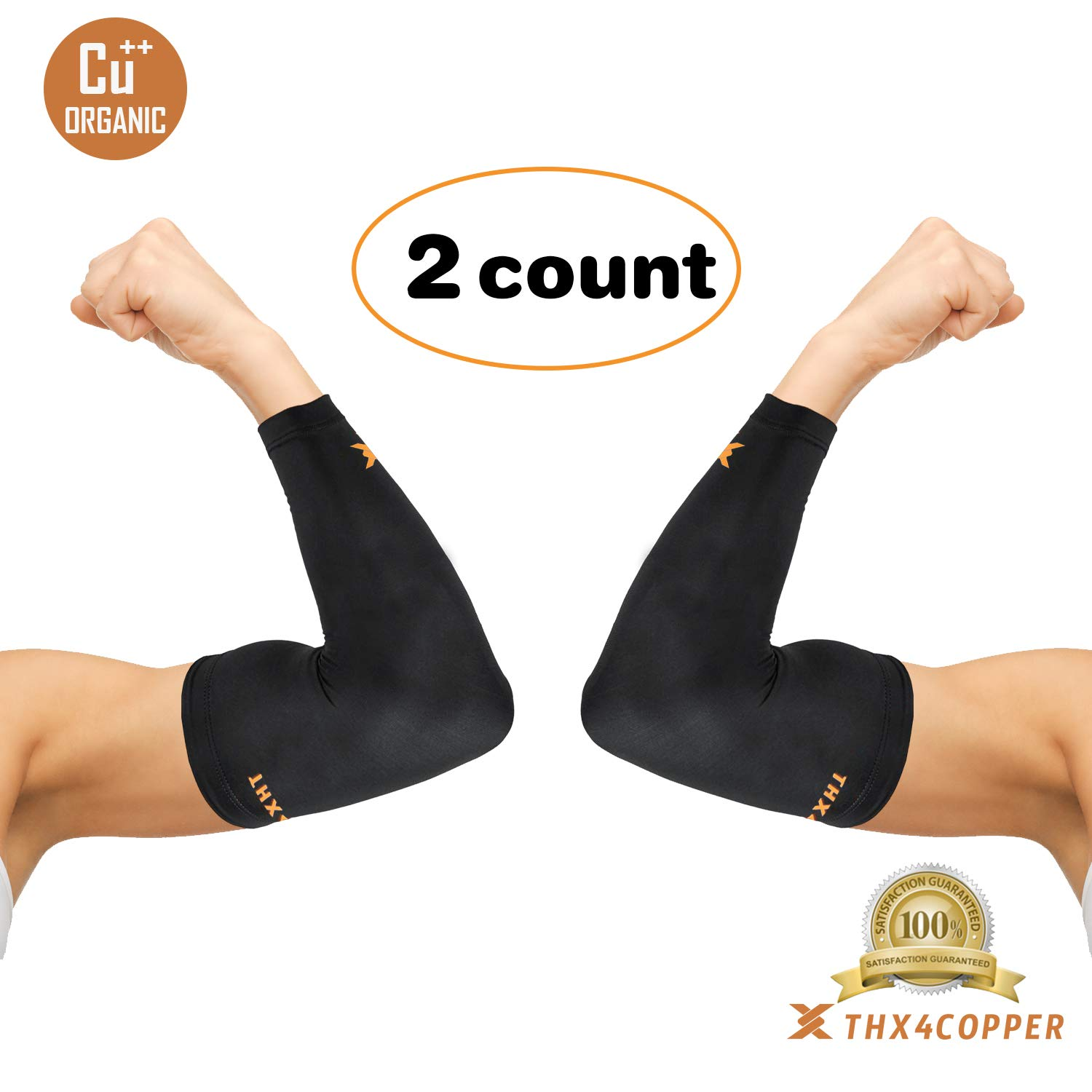 Thx4 Copper Elbow Compression Sleeve(1 Pair) - #1 Copper Infused Support –Guaranteed Recovery Copper Elbow Brace-Idea for Workouts, Sports, Golfers, Tennis Elbow, Arthritis, Tendonitis-Medium