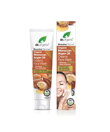 Amazon Com Dr Organic Moroccan Argan Oil Cream Face Wash 150ml Beauty