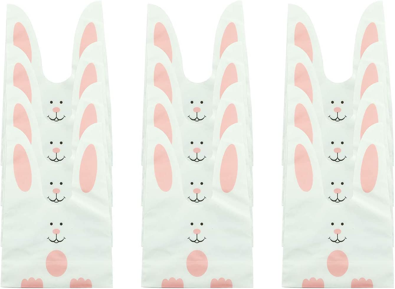 Tegg Candy Gift Wrap Bag 50PCS Cute Rabbit Ear Biscuits Cookie Candy Bags Gift Storage Party Bags with Golden Twist Ties