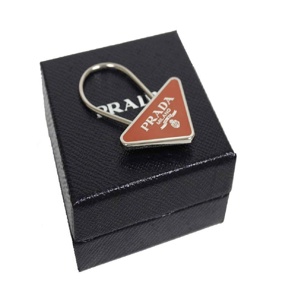Prada Portachiavi Smalto Papaya Enameled Metal Triangle Logo Keychain 2PS395