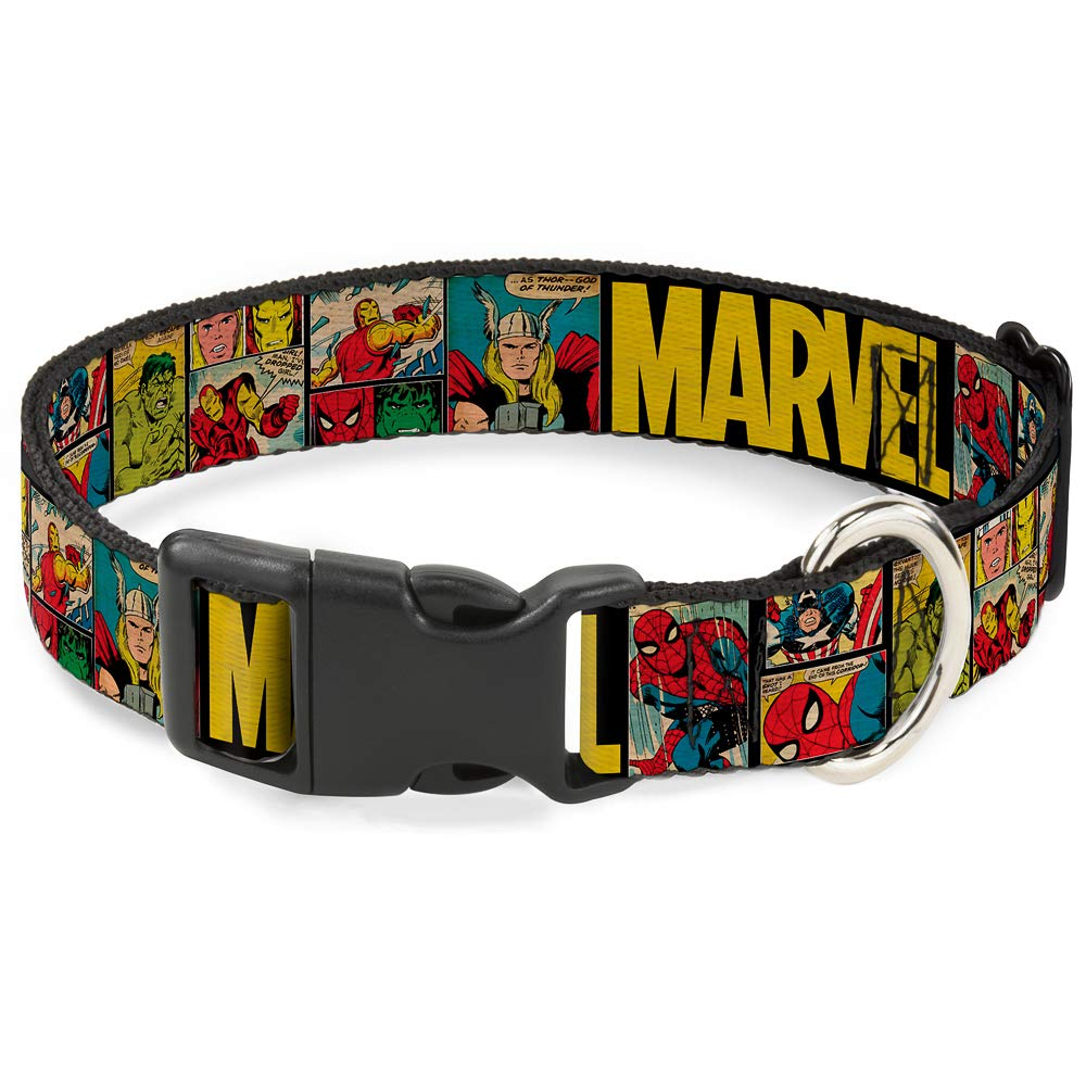 1\ Buckle-Down Marvel Retro Comic Panels  Plastic Clip Collar, Black Yellow, 1  Wide Fits 11-17  Neck Medium