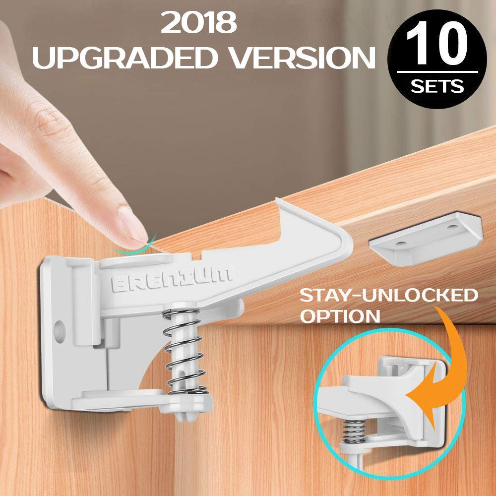 BRENIUM Child Safety Cabinet Locks (10pk), UPGRADED Version with Stay-Unlocked Option, Invisible Design Baby Proofing, Works for Most Drawers and Cabinet Doors, Strongest (3M) Adhesive